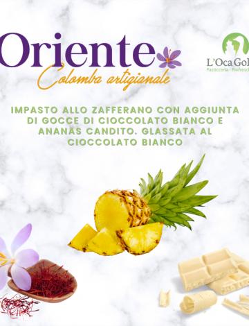 Oriente: colomba allo zafferano con ananas candito e cioccolato bianco