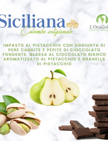 Siciliana: colomba al pistacchio con pere candite e cioccolato fondente